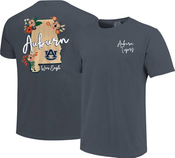 Image One Women's Auburn Tigers Blue Floral State T-Shirt product image
