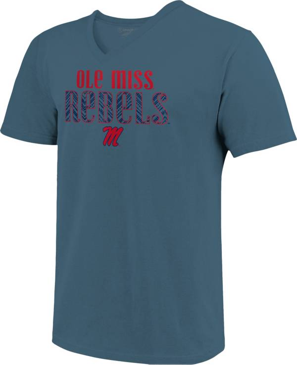 Image One Women's Ole Miss Rebels Blue Large Type Pattern V-Neck T-Shirt product image