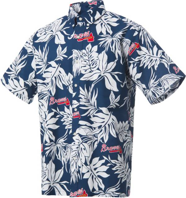 Reyn Spooner Men's Atlanta Braves Navy Aloha Button-Down Shirt product image