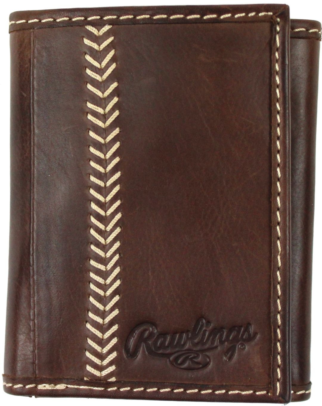20d5574dfce1 Rawlings Baseball Stitch Leather Trifold Wallet