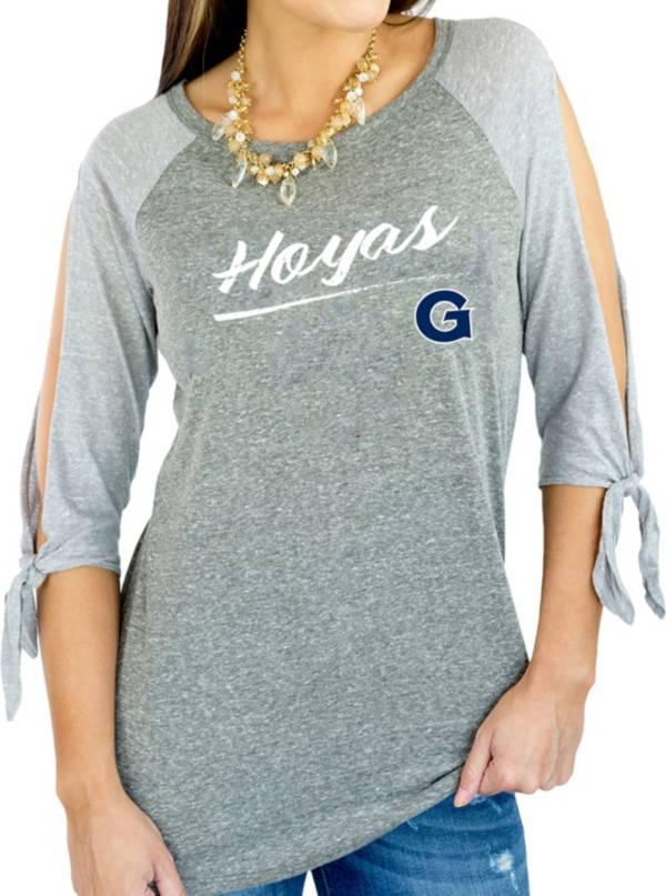 Gameday Couture Women's Georgetown Hoyas Grey Tie ¾ Sleeve Raglan Shirt product image