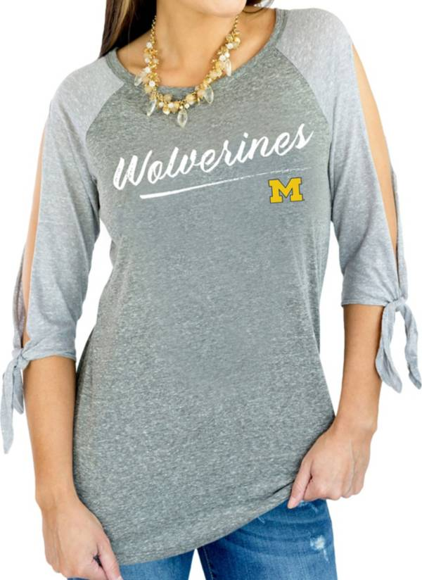 Gameday Couture Women's Michigan Wolverines Grey Tie ¾ Sleeve Raglan Shirt product image