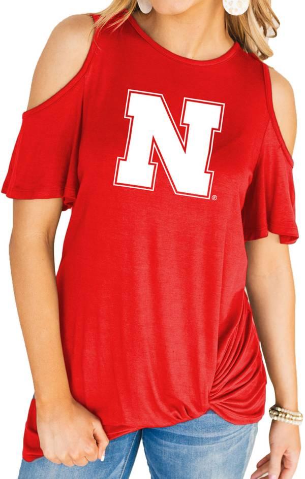 Gameday Couture Women's Nebraska Cornhuskers Scarlet Alma Mater Cold Shoulder T-Shirt product image