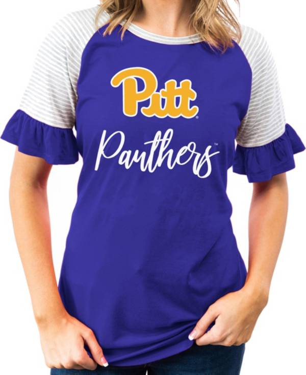 Gameday Couture Women's Pitt Panthers Blue Striped Ruffle Sleeve T-Shirt product image