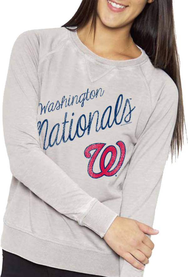 Soft As A Grape Women's Washington Nationals Grey Crew Fleece product image