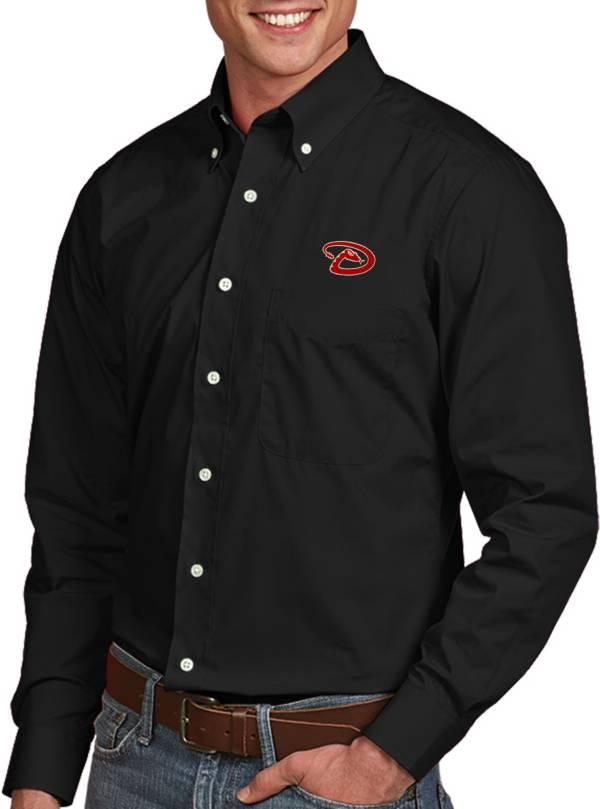 Antigua Men's Arizona Diamondbacks Dynasty Button-Up Black Long Sleeve Shirt product image
