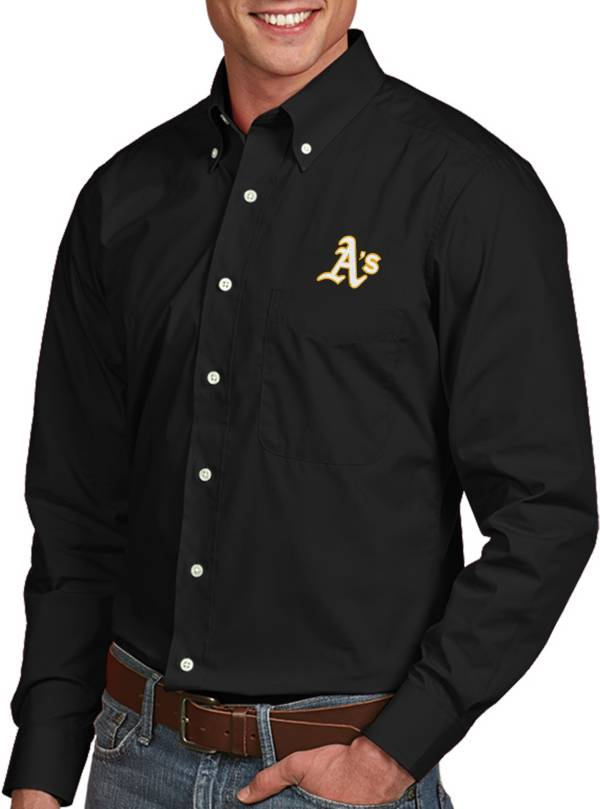 Antigua Men's Oakland Athletics Dynasty Button-Up Black Long Sleeve Shirt product image