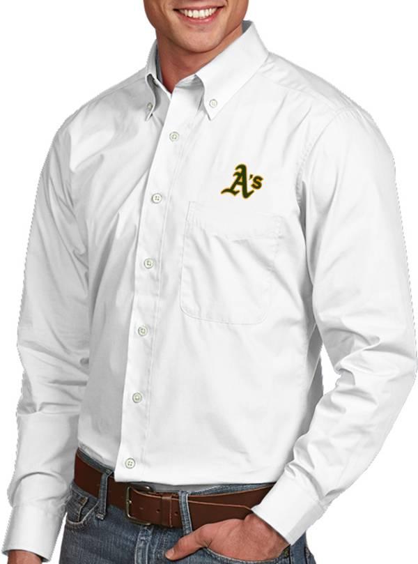 Antigua Men's Oakland Athletics Dynasty Button-Up White Long Sleeve Shirt product image