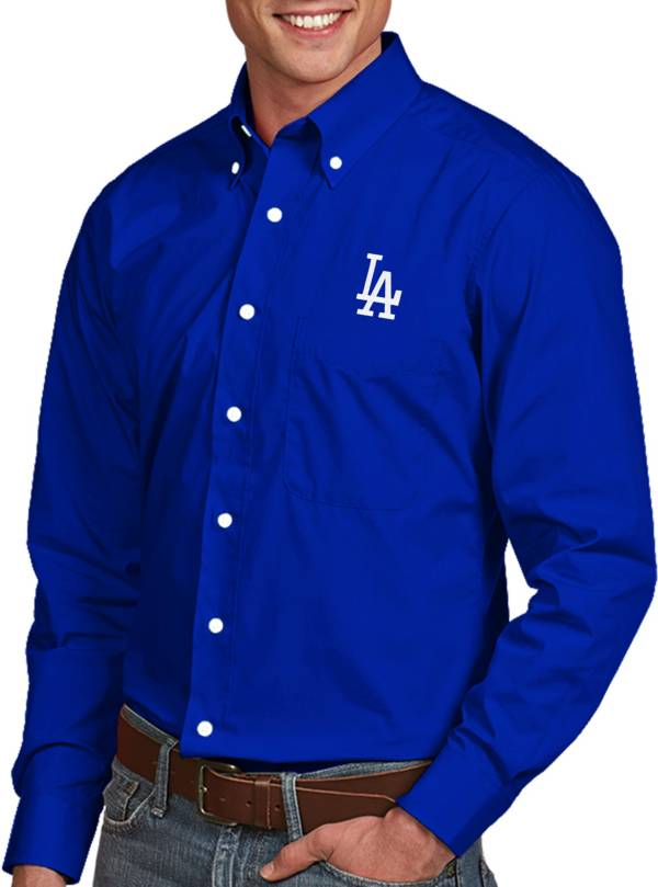 Antigua Men's Los Angeles Dodgers Dynasty Royal Long Sleeve Button Down Shirt product image