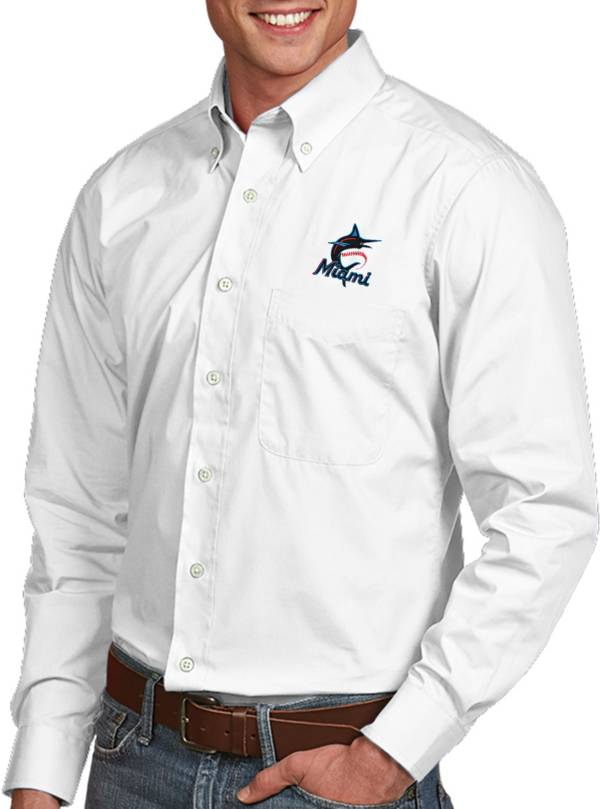 Antigua Men's Miami Marlins Dynasty Button-Up White Long Sleeve Shirt product image
