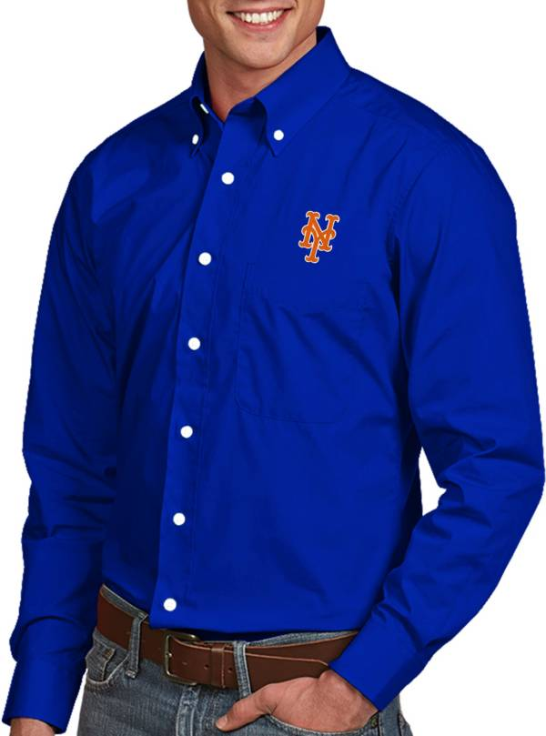 Antigua Men's New York Mets Dynasty Royal Long Sleeve Button Down Shirt product image
