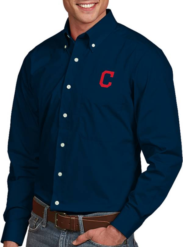 Antigua Men's Cleveland Indians Dynasty Button-Up Navy Long Sleeve Shirt product image