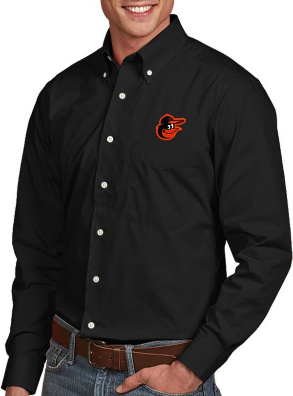 Antigua Men's Baltimore Orioles Dynasty Black Long Sleeve Button Down Shirt product image