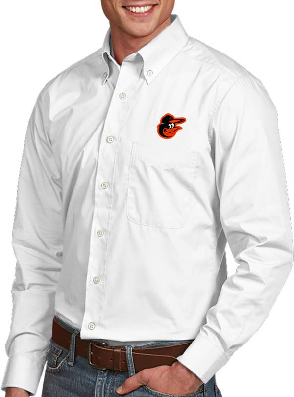 Antigua Men's Baltimore Orioles Dynasty White Long Sleeve Button Down Shirt product image