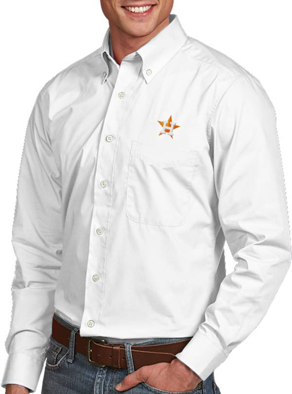 Antigua Men's Houston Astros Dynasty White Long Sleeve Button Down Shirt product image