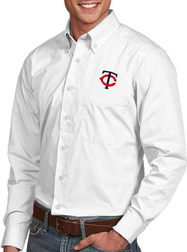 Antigua Men's Minnesota Twins Dynasty Button-Up White Long Sleeve Shirt product image