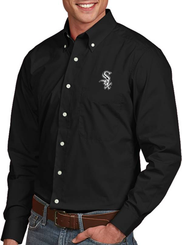 Antigua Men's Chicago White Sox Dynasty Button-Up Black Long Sleeve Shirt product image