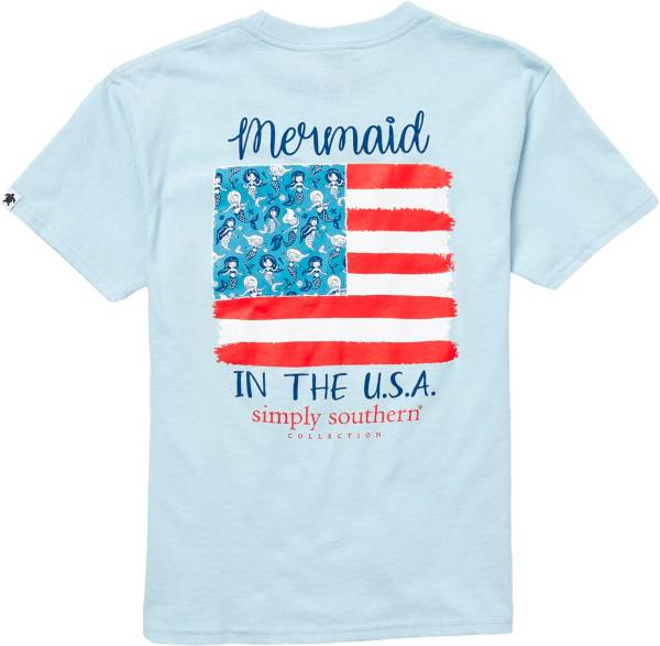 Simply Southern Girl's Short Sleeve Mermaid USA T-Shirt product image