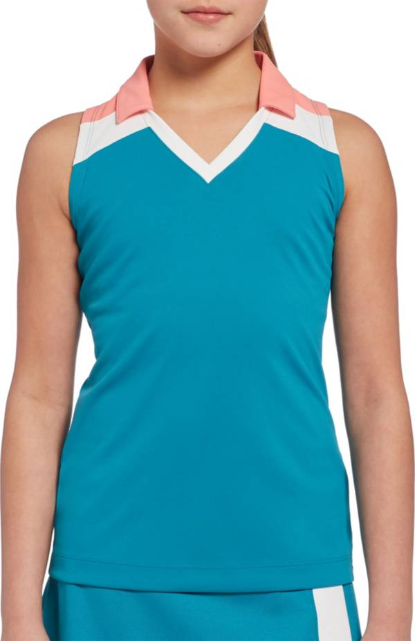 Slazenger Girls' Solid Colorblock Sleeveless Golf Polo product image