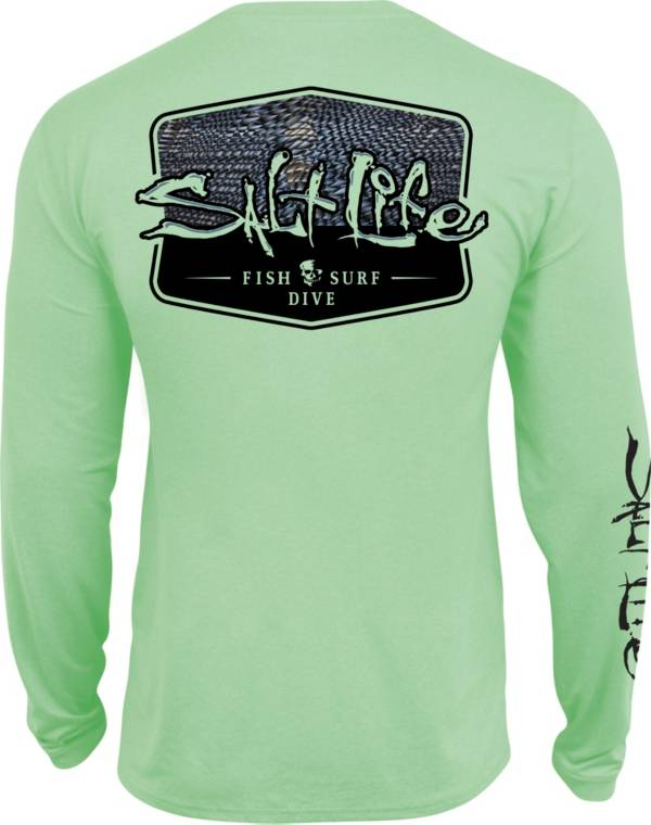 Salt Life Men's Metal Scales Badge Long Sleeve Performance Shirt product image