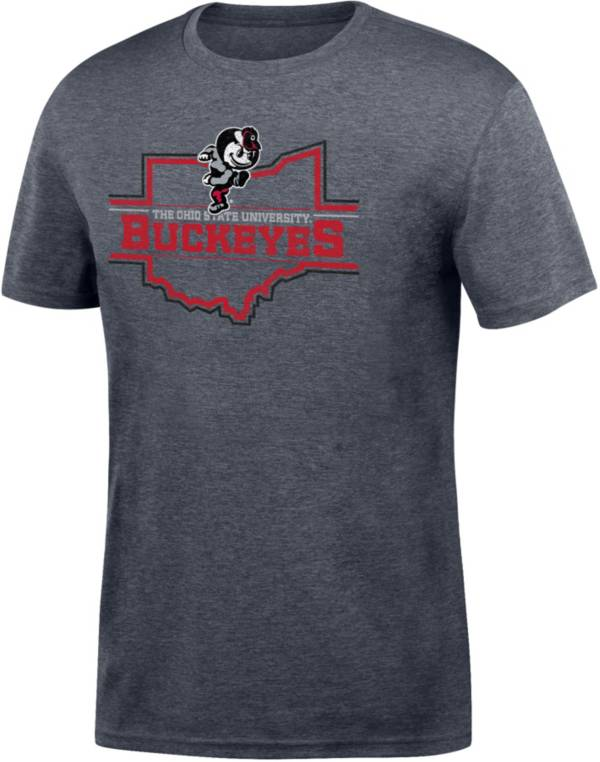 Scarlet & Gray Men's Ohio State Buckeyes Gray Chrome State T-Shirt product image
