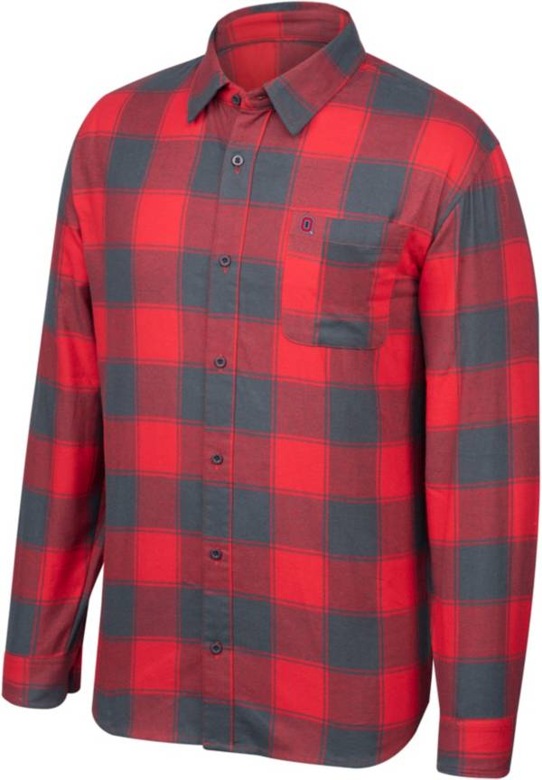 Scarlet & Gray Men's Ohio State Buckeyes Scarlet/Gray Run Around Button Down Flannel Long Sleeve Shirt product image