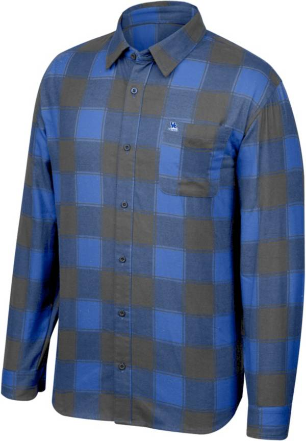 Top of the World Men's Kentucky Wildcats Blue/Grey Run Around Button Down Flannel Long Sleeve Shirt product image
