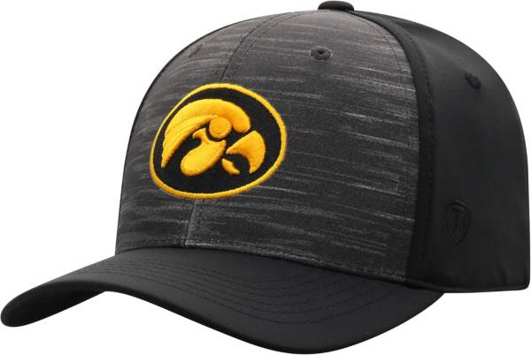 Top of the World Men's Iowa Hawkeyes Grey/Black Pepper 1Fit Flex Hat product image