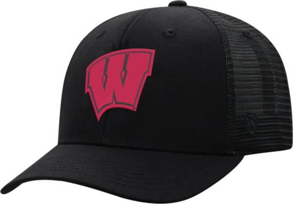 Top of the World Men's Wisconsin Badgers ZigZag Trucker Adjustable Black Hat product image