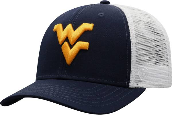 Top of the World Men's West Virginia Mountaineers Blue/White Trucker Adjustable Hat product image