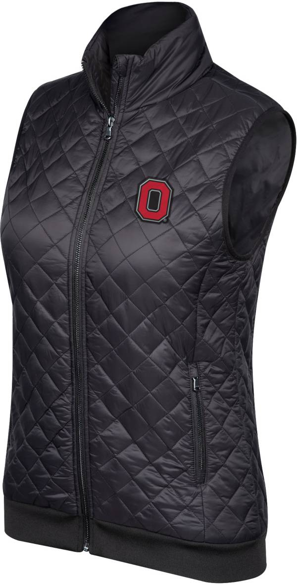 Scarlet & Gray Women's Ohio State Buckeyes Diamond Lightweight Puffer Black Vest product image