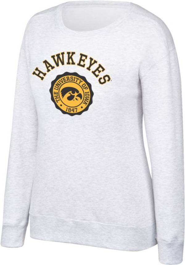 Top of the World Women's Iowa Hawkeyes Grey Essential Crew Neck Sweatshirt product image