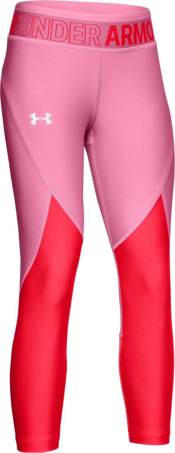 Under Armour Girls' Armour HeatGear Colorblocked Crop Pants product image