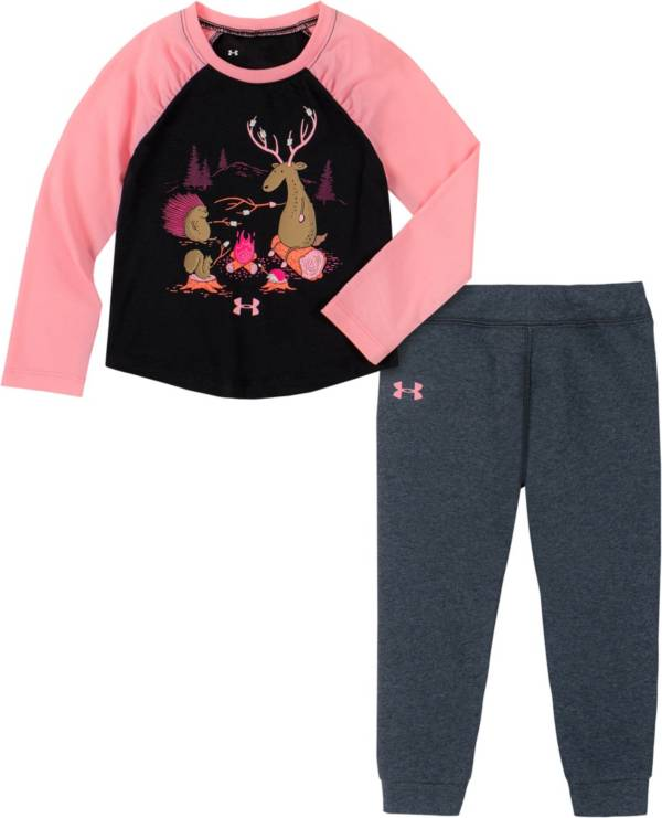 Under Armour Infant Girls' Camp Fire Friends T-Shirt and Pants Set product image