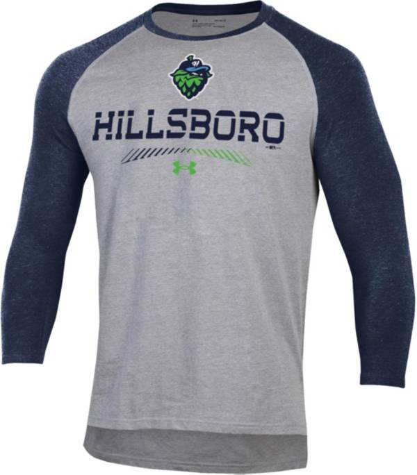 Under Armour Men's Hillsboro Hops Navy Raglan Three-Quarter Sleeve T-Shirt product image