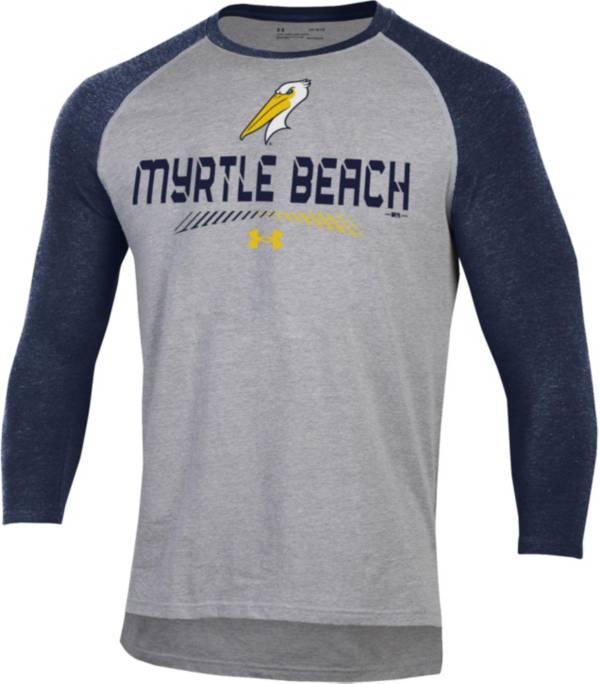 Under Armour Men's Myrtle Beach Pelicans Navy Raglan Three-Quarter Sleeve Shirt product image