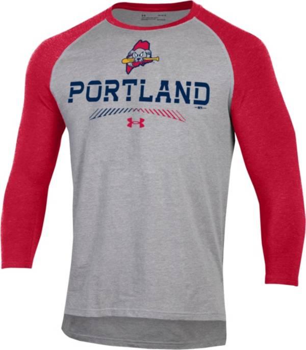 Under Armour Men's Portland Sea Dogs Red Raglan Three-Quarter Sleeve T-Shirt product image