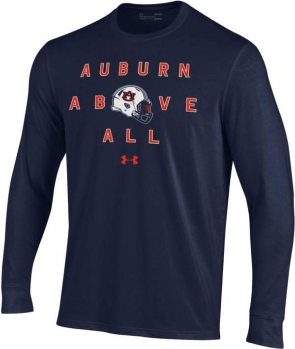 Under Armour Men's Auburn Tigers Blue Performance Cotton Long Sleeve Football T-Shirt product image