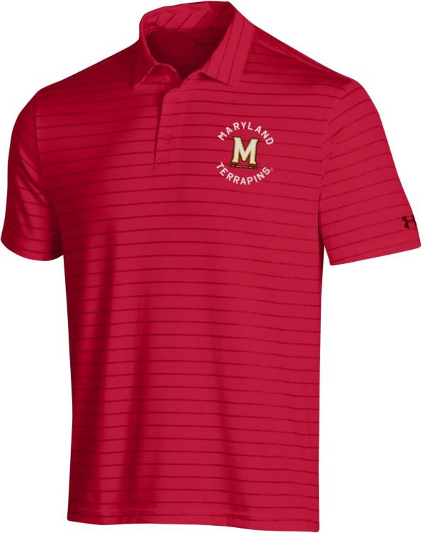 Under Armour Men's Maryland Terrapins Red Playoff Tour Striped Polo product image