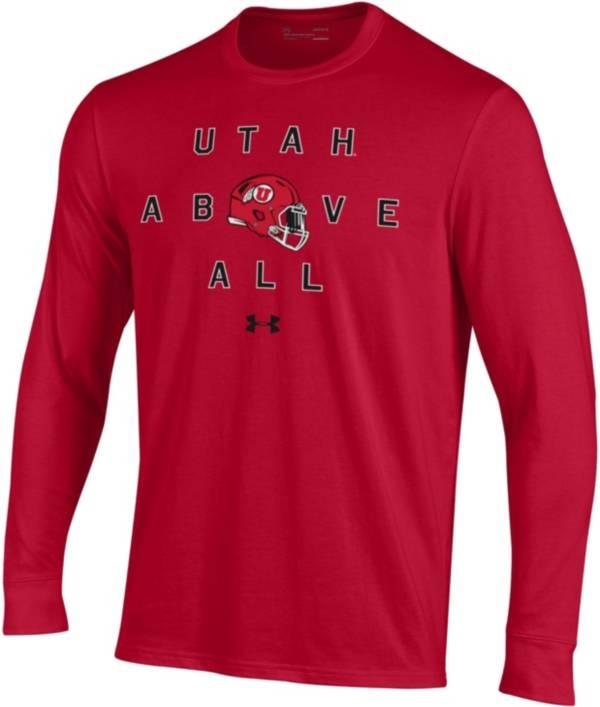 Under Armour Men's Utah Utes Crimson Performance Cotton Long Sleeve Football T-Shirt product image