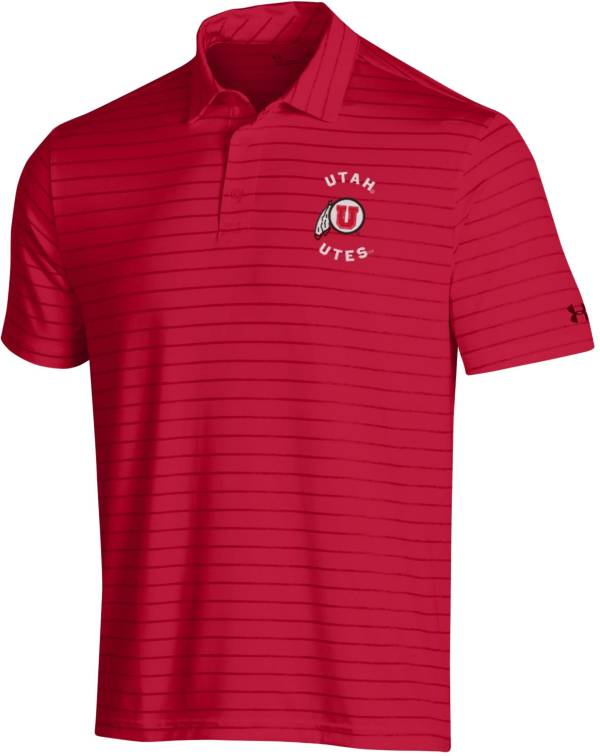 Under Armour Men's Utah Utes Crimson Playoff Tour Striped Polo product image
