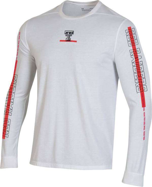 Under Armour Men's Texas Tech Red Raiders Hype On-Court Long Sleeve Basketball White T-Shirt product image
