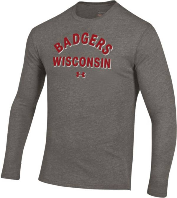 Under Armour Men's Wisconsin Badgers Grey Tri-Blend Performance Long Sleeve T-Shirt product image