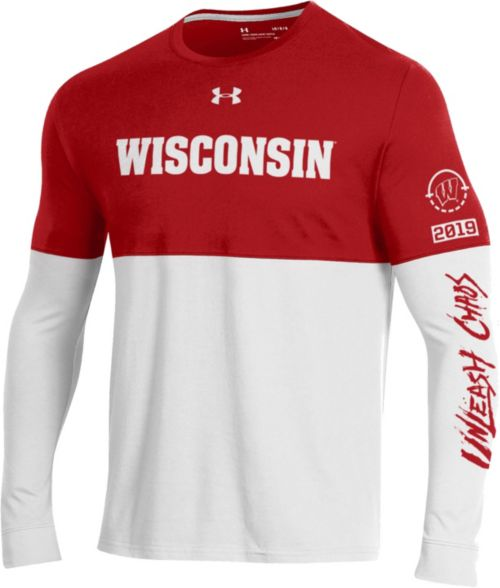 Under Armour Men s Wisconsin Badgers Red White  Unleash Chaos  Bench Long  Sleeve Basketball T-Shirt. noImageFound. 1 f23331f6a