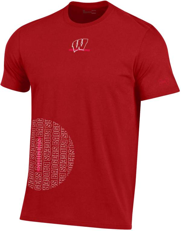 Under Armour Men's Wisconsin Badgers Red Hype Side Circle Performance Cotton Basketball T-Shirt product image