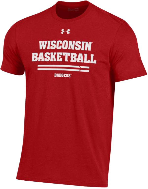 Under Armour Men's Wisconsin Badgers Red Performance Cotton On-Court Basketball T-Shirt product image