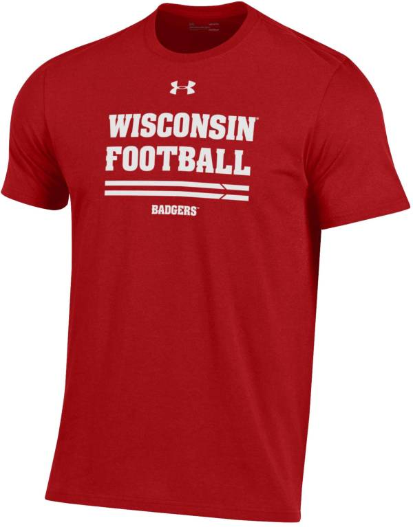 Under Armour Men's Wisconsin Badgers Red Football Performance Cotton T-Shirt product image