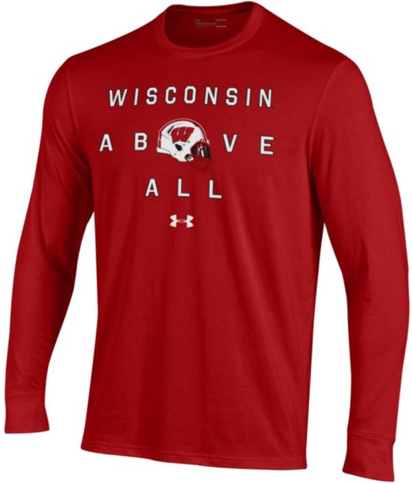 Under Armour Men's Wisconsin Badgers Red Performance Cotton Long Sleeve Football T-Shirt product image
