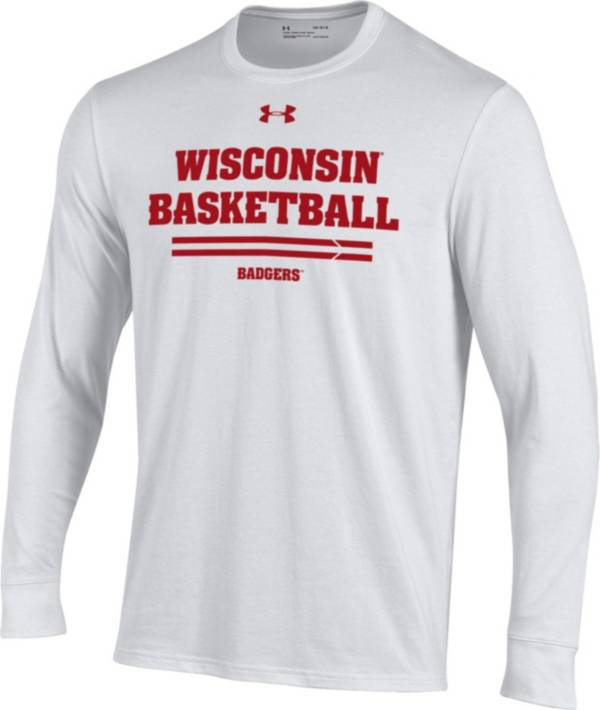 Under Armour Men's Wisconsin Badgers On-Court Performance Cotton Long Sleeve Basketball White T-Shirt product image