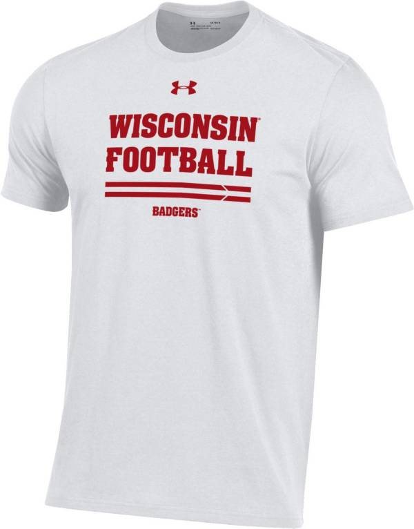 Under Armour Men's Wisconsin Badgers Football Performance Cotton White T-Shirt product image